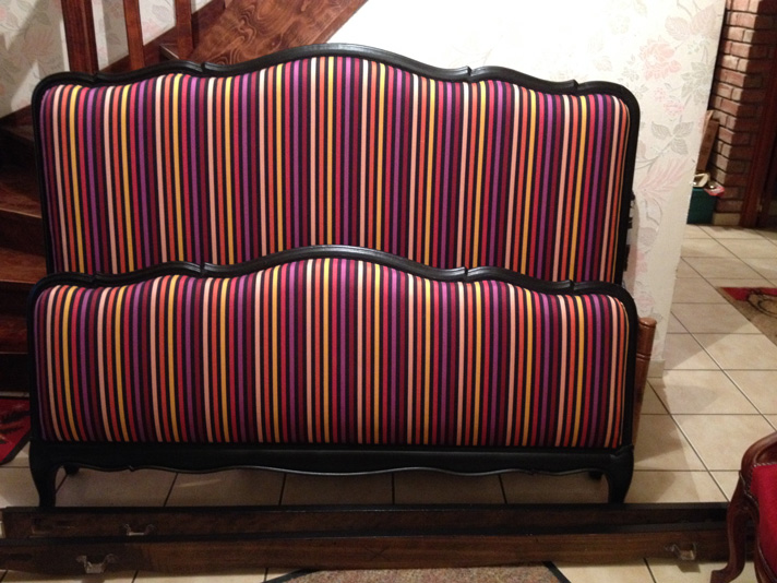 changement de tissu et peinture pour une tête de lit à Lille tissu nobilis